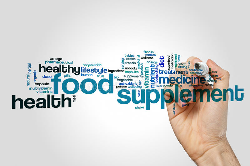 Food supplement word cloud. Concept on grey background stock image
