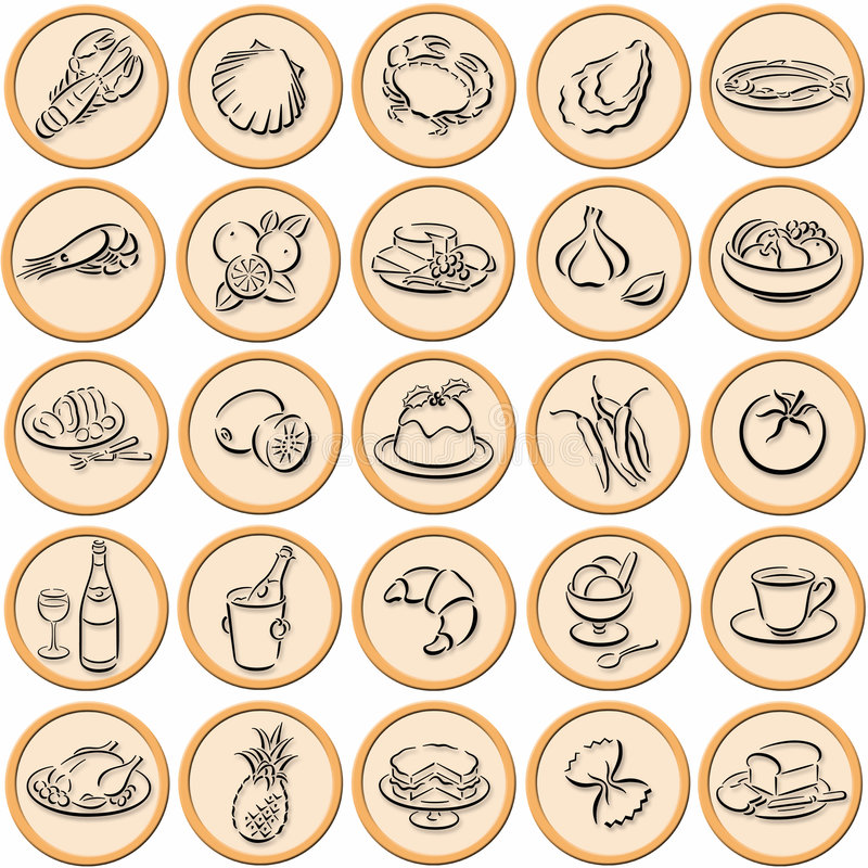 Download Food symbols shadowed stock illustration. Image of coffee - 5957268