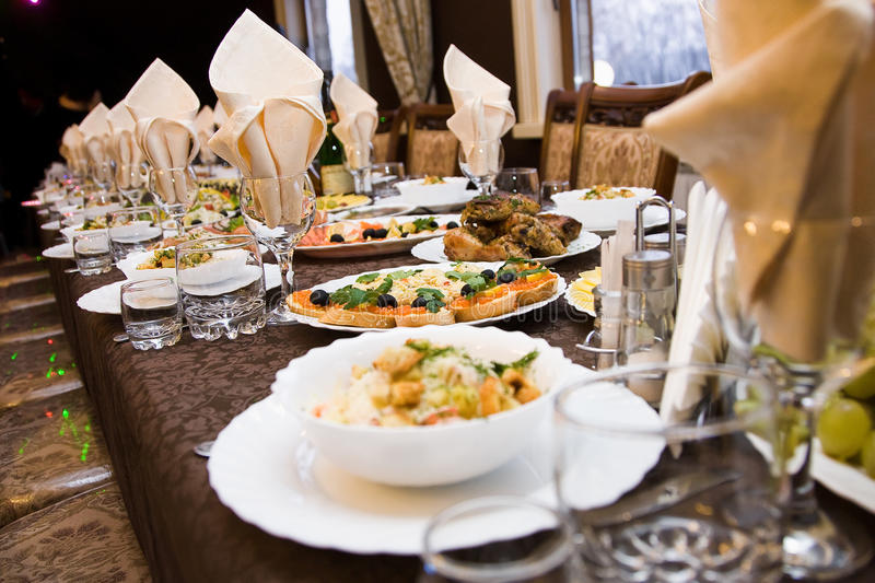 Food on the table. Salad food on the table with meat royalty free stock images