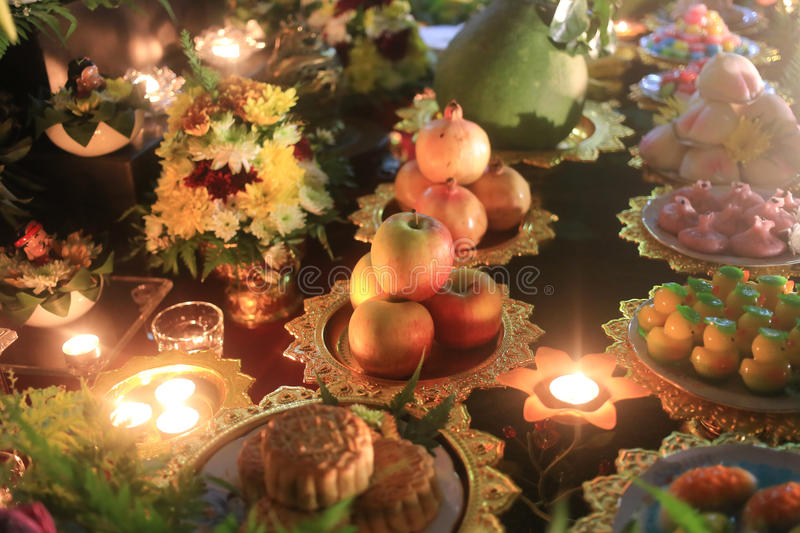 Food on table for pray in Moon Pray Festival royalty free stock photography