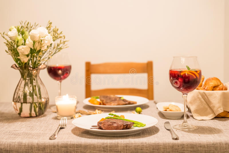 The food on the table and wine. Indoor shooting royalty free stock photos