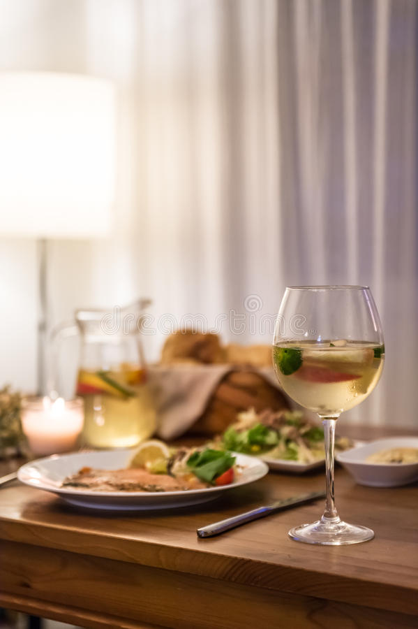 The food on the table and wine. Indoor shooting royalty free stock images