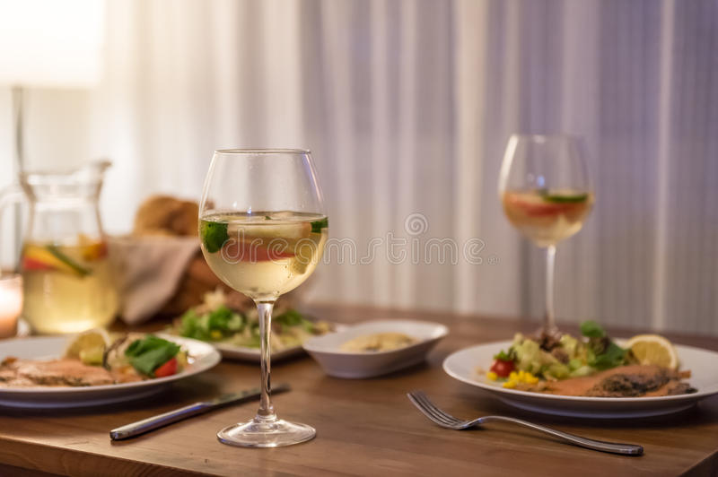 The food on the table and wine. Indoor shooting stock image
