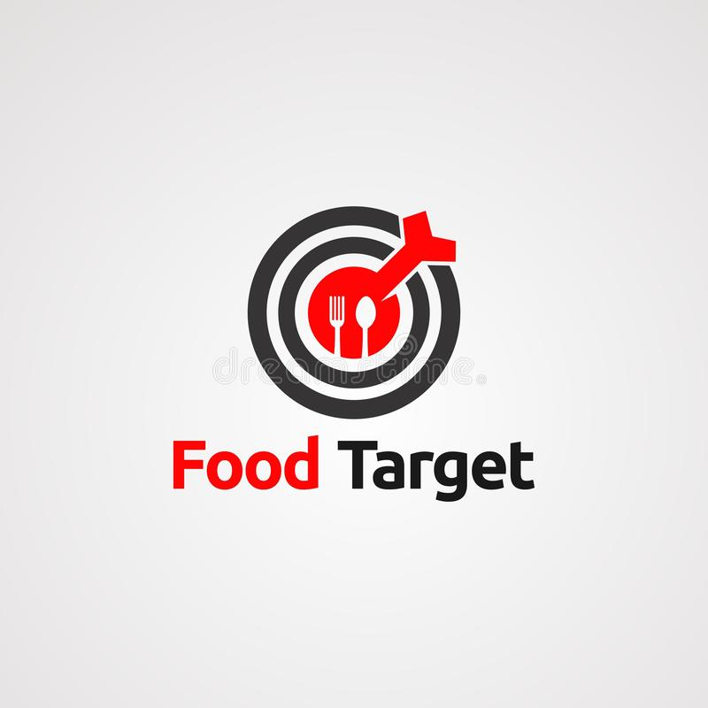 Food target with red arrow on center logo vector, icon, element, and template for company. Food target with red arrow on center logo vector, icon, element, and vector illustration