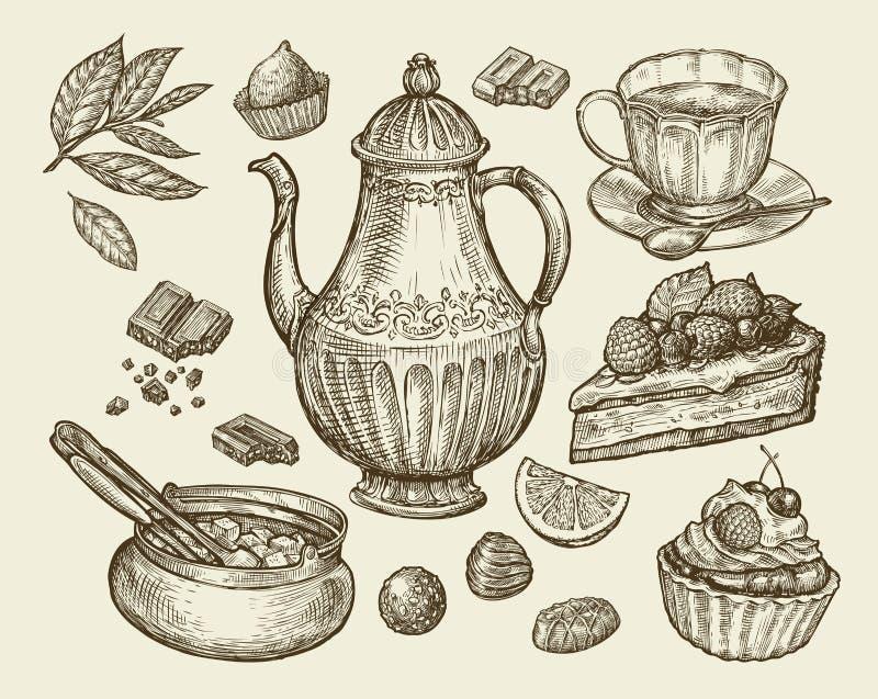 Food, tea, dessert. Hand drawn vintage teapot, kettle, cup, sugar bowl, chocolate, candy, fruitcake, pastry, piece of. Food, tea, dessert. Hand-drawn vintage stock illustration