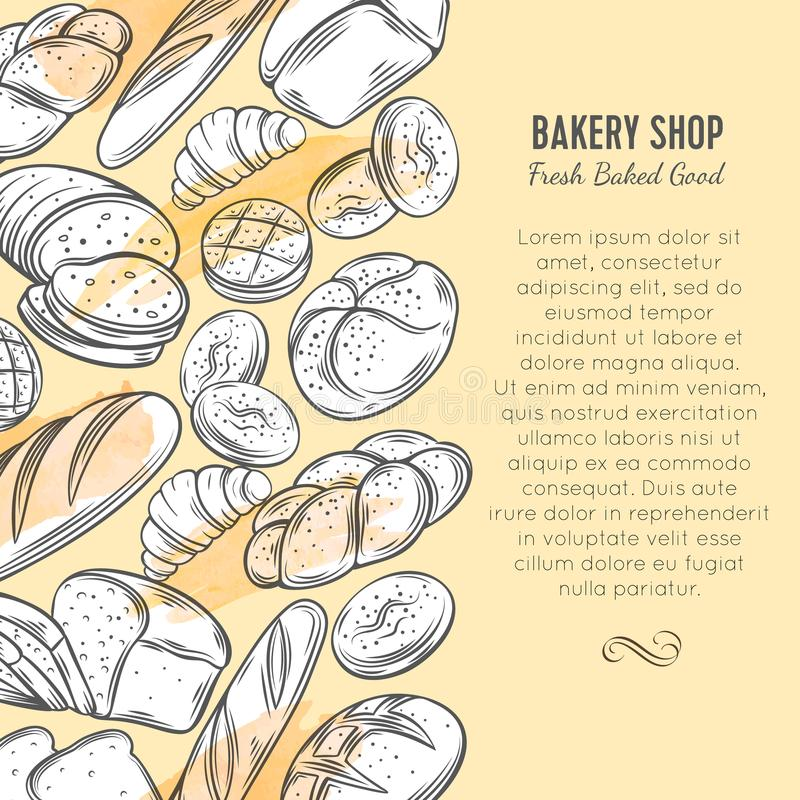 Food template banners with bread. Food template page design with bread product. Hand drawn sketch rye and wheat bread, croissant, whole grain bread, bagel, toast stock illustration