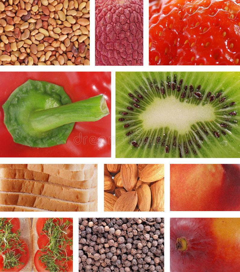 Food textures collage royalty free stock images