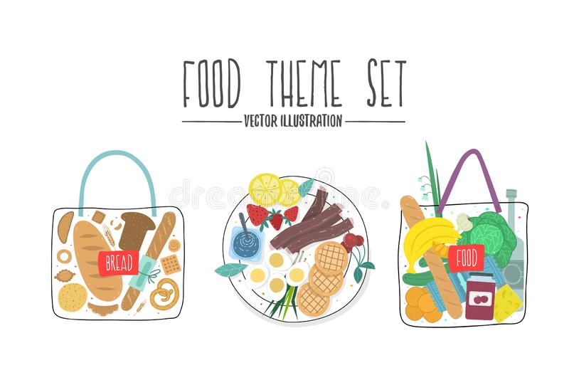 Food theme set. Grocery bag. design colored vector illustration of food and drink products. stock illustration