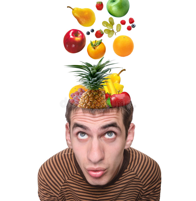 Food for thought. Food for thought .Creative.Fruits royalty free stock photos