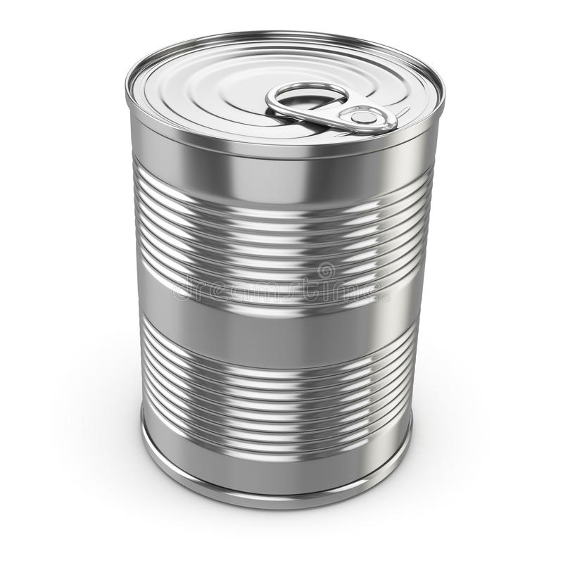 Food tin can on white background. stock illustration