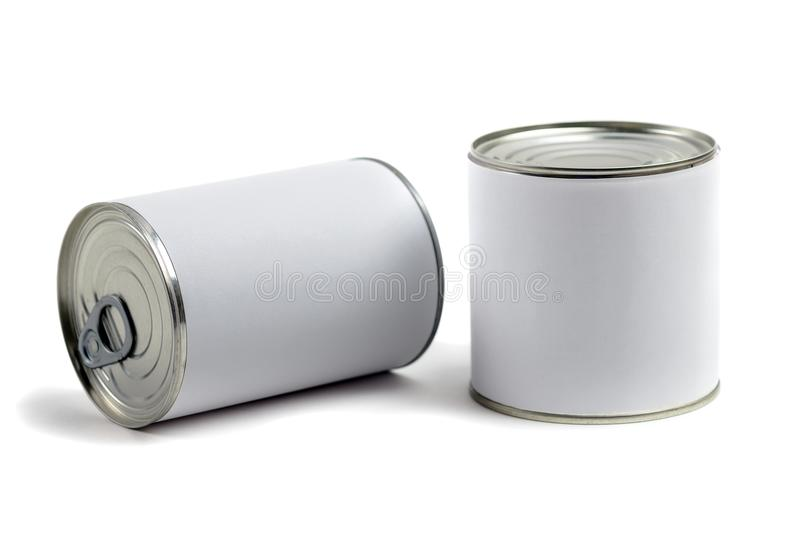 Food tin cans stock image