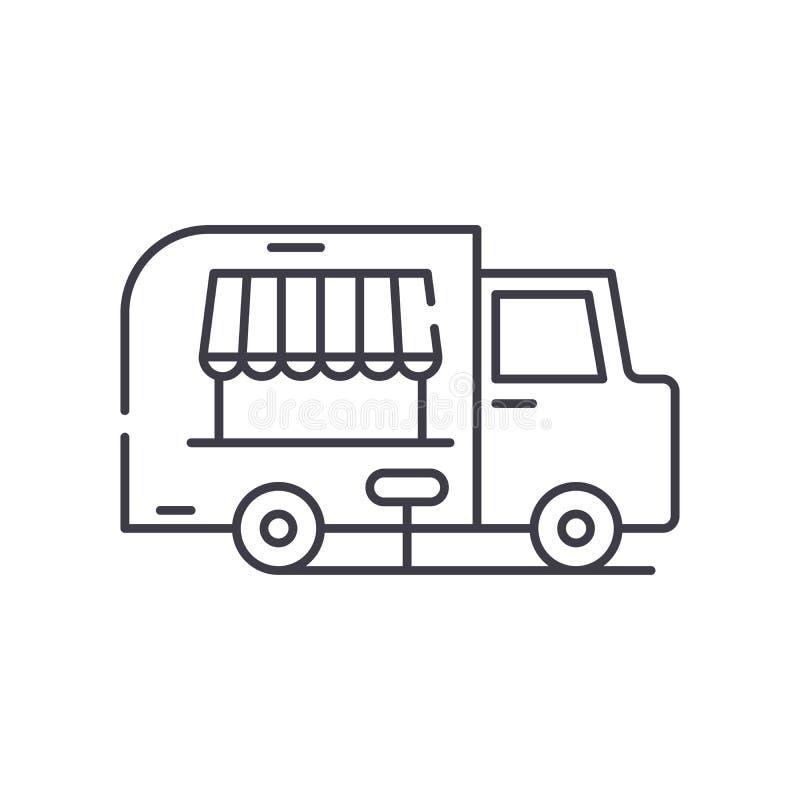 Food track line icon concept. Food track vector linear illustration, symbol, sign stock illustration