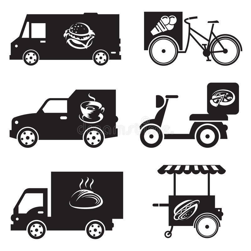 Food transport icons vector illustration
