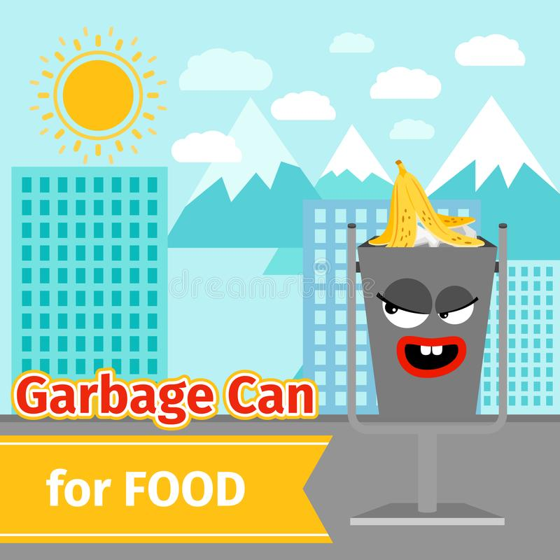 Food trash can with monster face. Garbage can with food trash and monster face on the street, vector illustration stock illustration