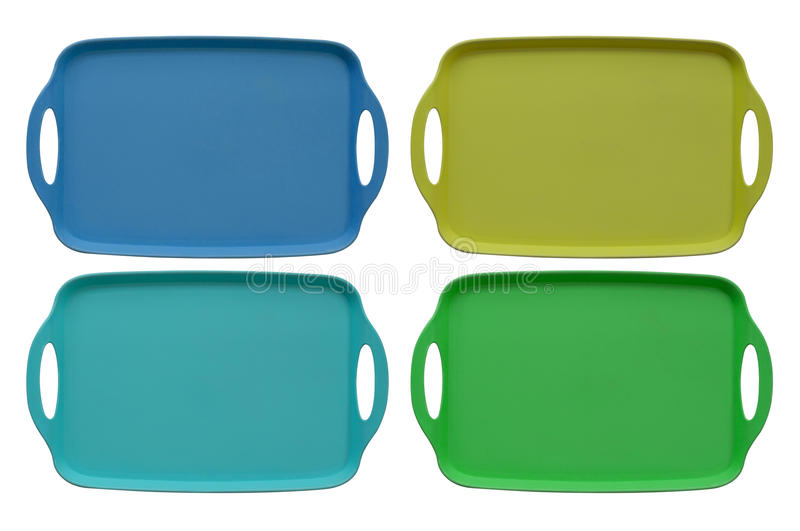 Food Tray Multi Color. Isolate multi color food tray on white background royalty free stock photo