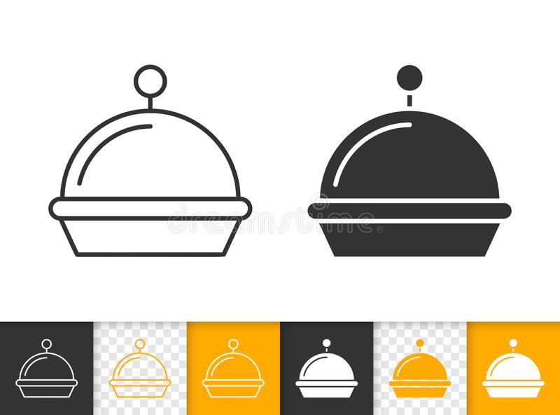 Food Tray simple black line vector icon royalty free illustration