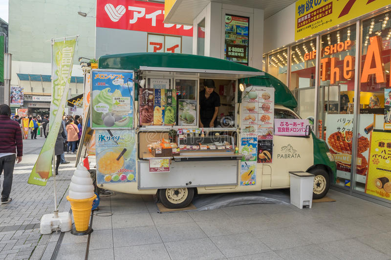 Food truck at Akihabara area in Tokyo, Japan. TOKYO - 21 NOV 2016: Food truck at Akihabara area in Tokyo, Japan. The area is a major shopping area for electronic royalty free stock images