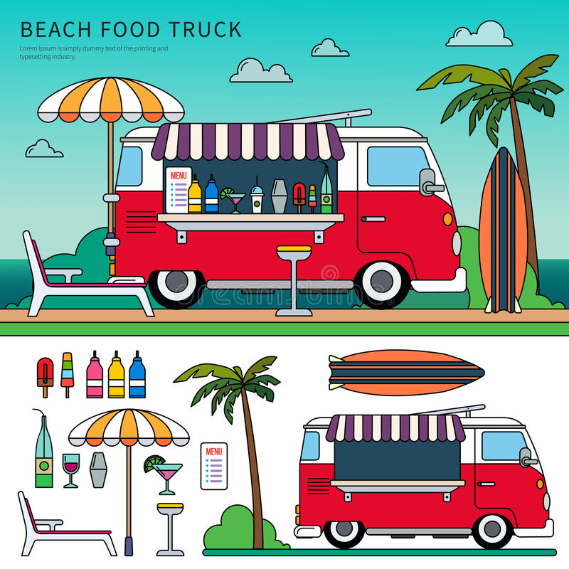 Download Food Truck On The Beach Stock Vector Illustration Of Palm