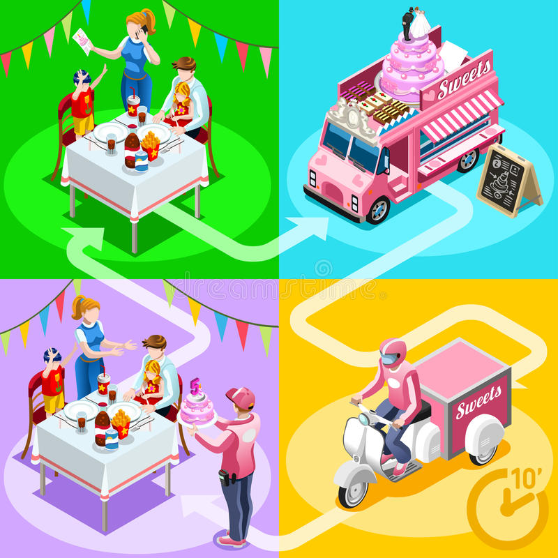 Food Truck Birthday Cake Home Delivery Vector Isometric People vector illustration