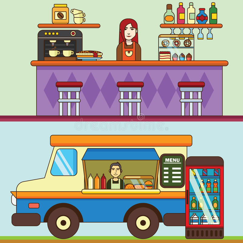 Food truck, cafe car on the street, Bakery and coffee shop. Cafe interior. stock illustration