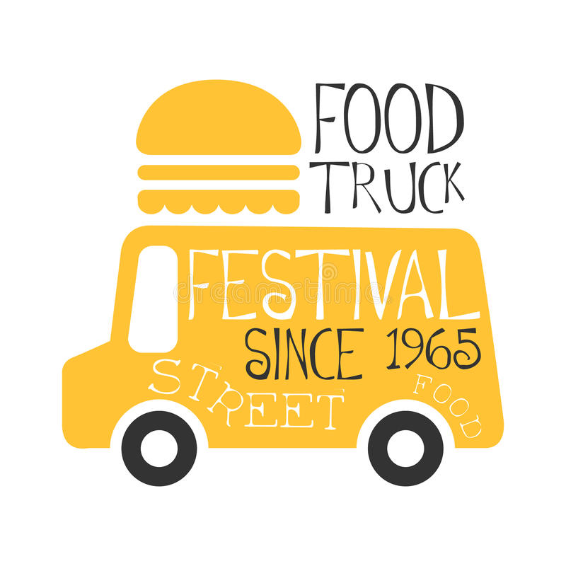 Food Truck Cafe Food Festival Promo Sign Colorful Vector Design - Food truck design template