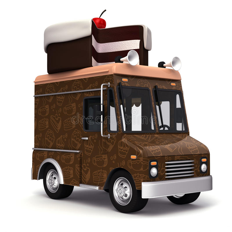 Food truck with cake stock illustration
