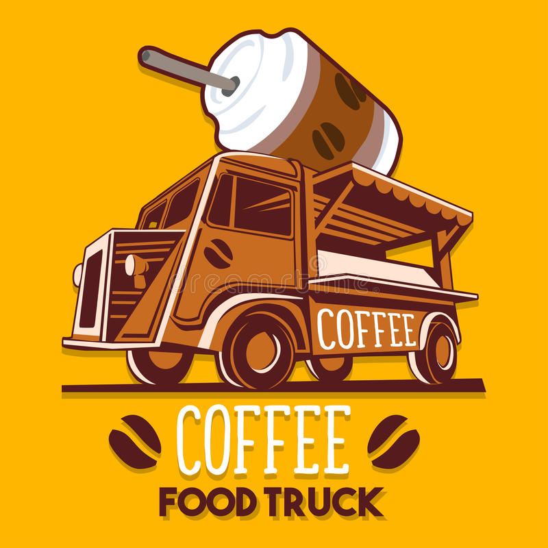 Food Truck Coffee Cafe Breakfast Delivery Service Vector Logo. Food truck logotype for coffee cafe breakfast fast delivery service or summer food festival. Truck royalty free illustration
