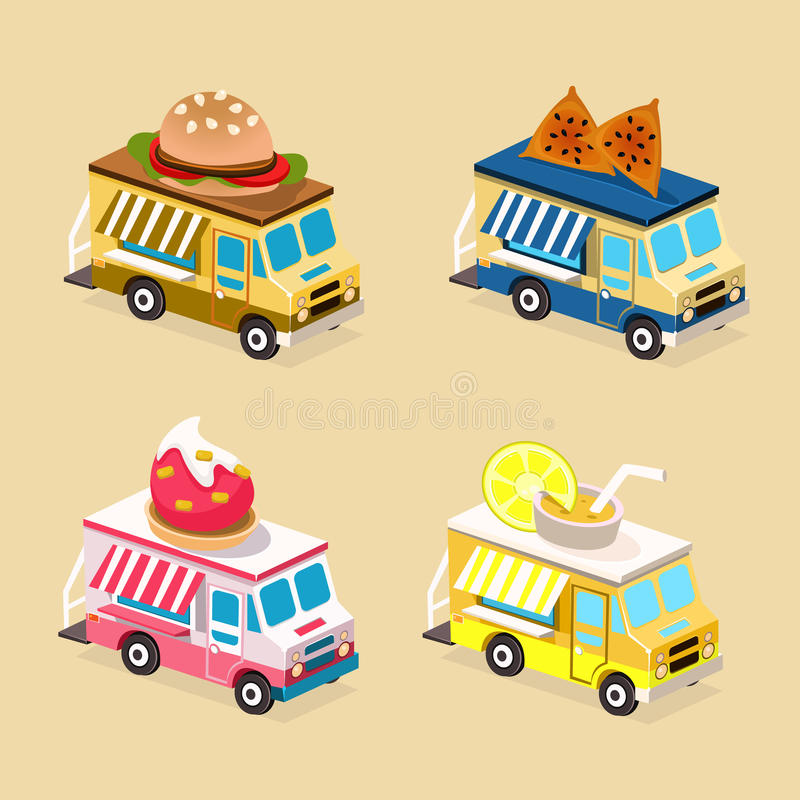 Food Truck Designs. Collection of Vector Icons vector illustration