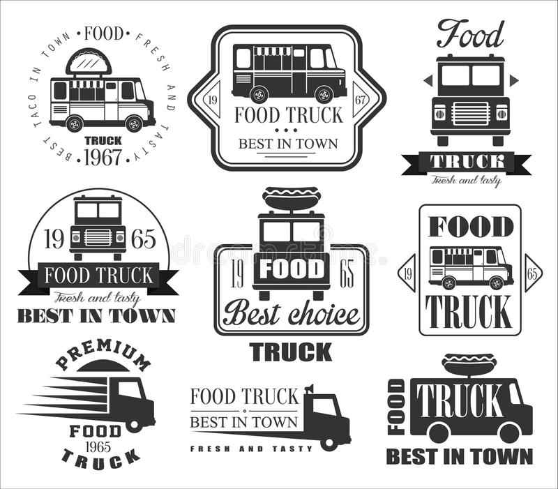 Food Truck Emblems, Icons and Badges stock illustration
