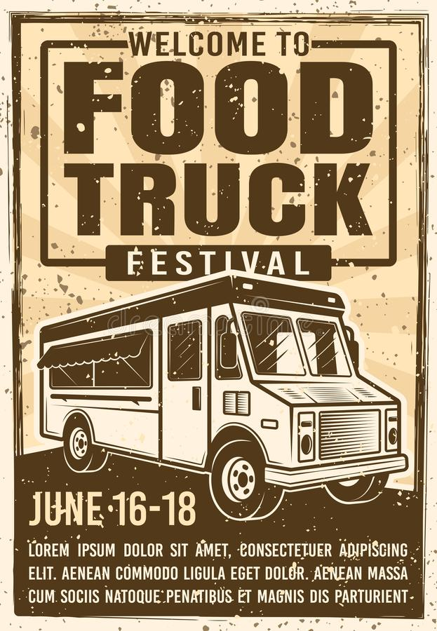 Food truck festival advertising vintage poster. Food truck festival advertising poster in vintage style for invitation on event. Vector illustration with grunge stock illustration