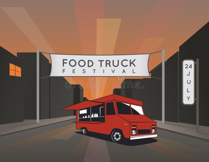 Food truck festival poster. Urban, street food illustrations and graphics stock illustration