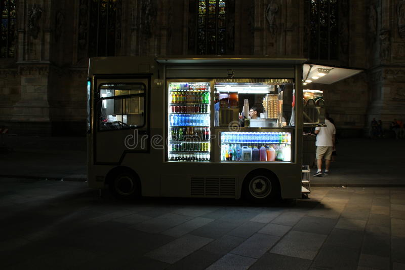Food truck in front of cathedral stock image