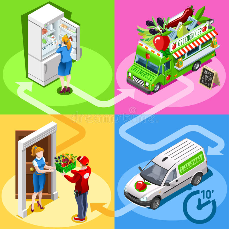 Food Truck Greengrocer Vegetable Home Delivery Vector Isometric royalty free illustration