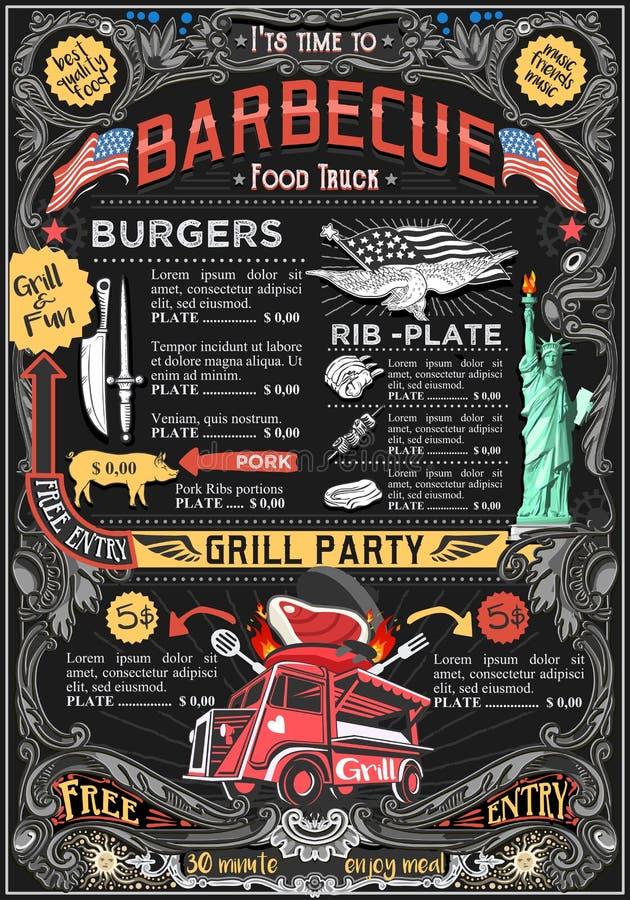 Food Truck Menu Street Food BBQ Grill Festival Vector Poster. Fast food truck festival menu American BBQ Grill brochure street food poster design. Vintage party stock illustration