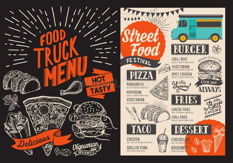 Food truck menu for street fest. Design template with hand-drawn graphic illustrations. stock illustration