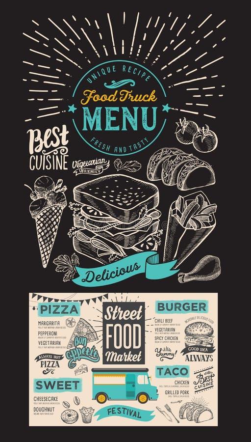 Food truck menu for street festival on chalkboard background. De royalty free illustration