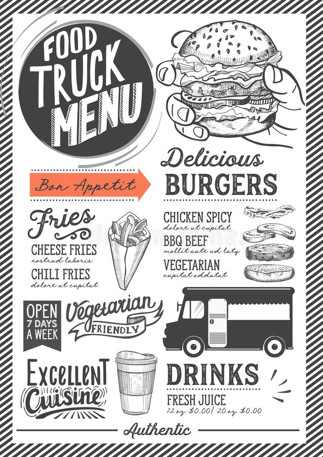 Food truck menu template. Food truck menu for street festival. Design template with hand-drawn graphic illustrations royalty free illustration