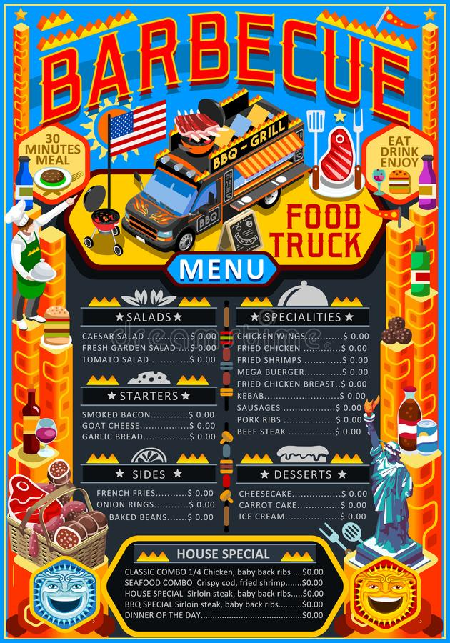 Food Truck Menu Street Food Grill BBQ Festival Vector Poster. Fast food truck festival menu American BBQ Grill brochure street food poster design. Vintage party royalty free illustration