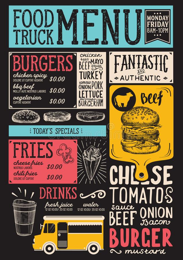 Food truck menu template. Food truck menu for street festival. Design template with hand-drawn graphic illustrations vector illustration