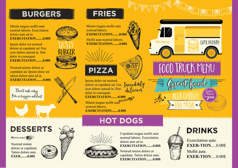 Completely new Food Truck Party Invitation. Food Menu Template Design. Food Fly  ZX69