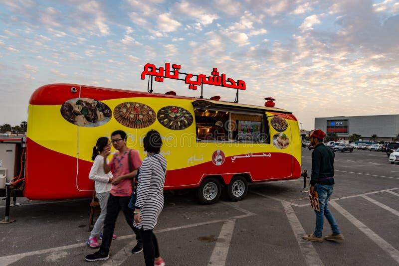 Food truck serving Lebanese specialities, Abu Dhabi stock image