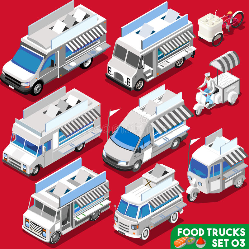 Food Truck Set04 Vehicle Isometric vector illustration