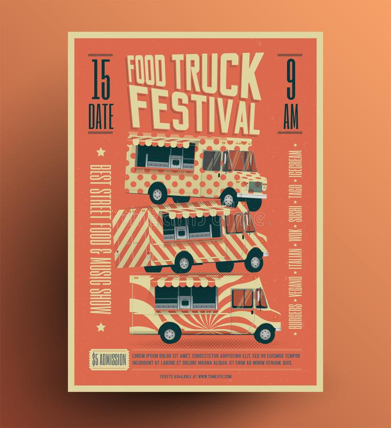 Food Truck Street Food Festival Poster Flyer Template. Vintage styled vector illustration. Food Truck Street Food Festival Poster Flyer Template. Vintage styled vector illustration