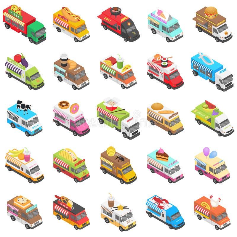 Food truck transport icons set, isometric style vector illustration