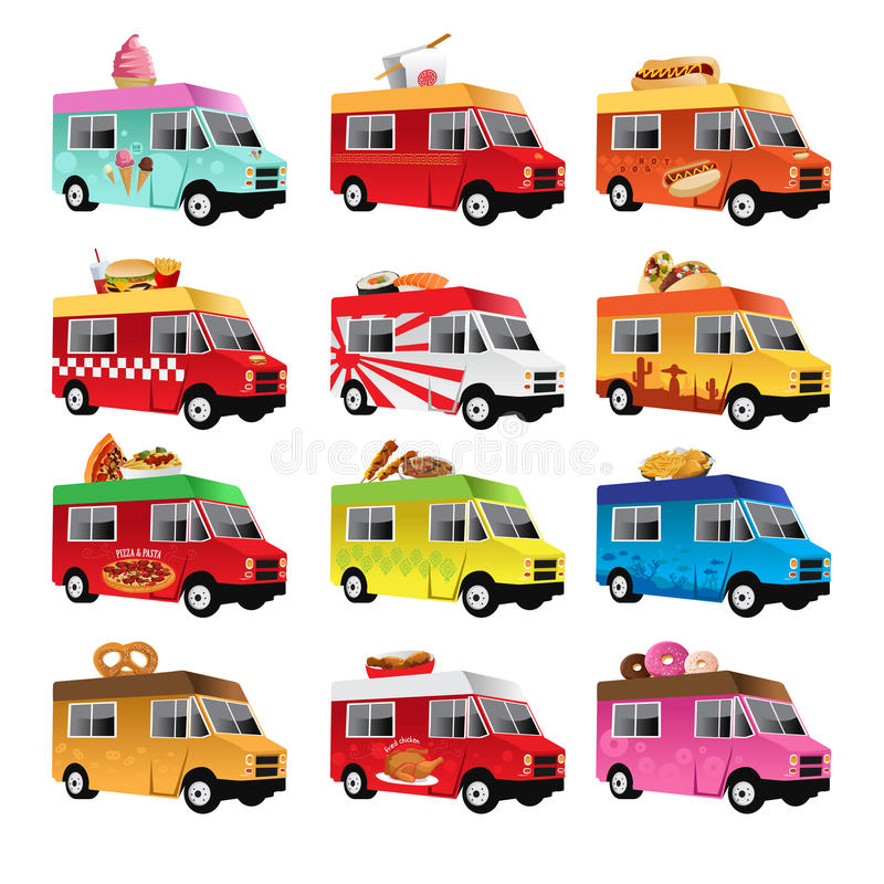Food truck. A vector illustration of food truck icon designs