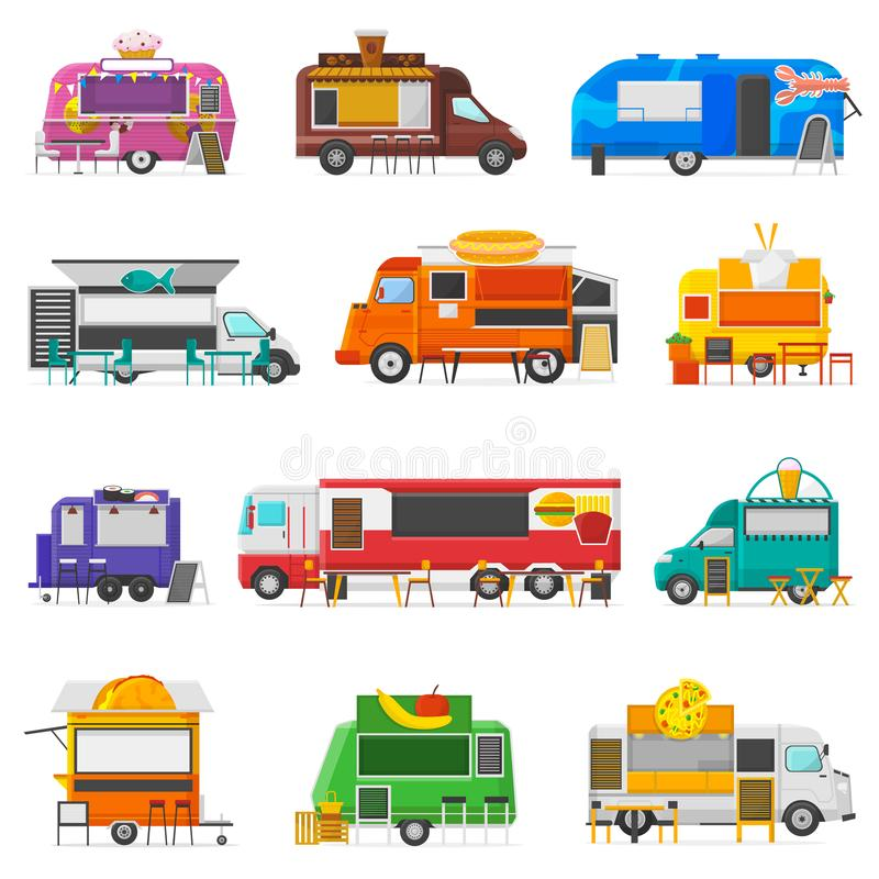 Food truck vector street food-truck vehicle and fastfood delivery transport with hotdog or doughnut restaurant or. Coffeeshop illustration set of snack vector illustration