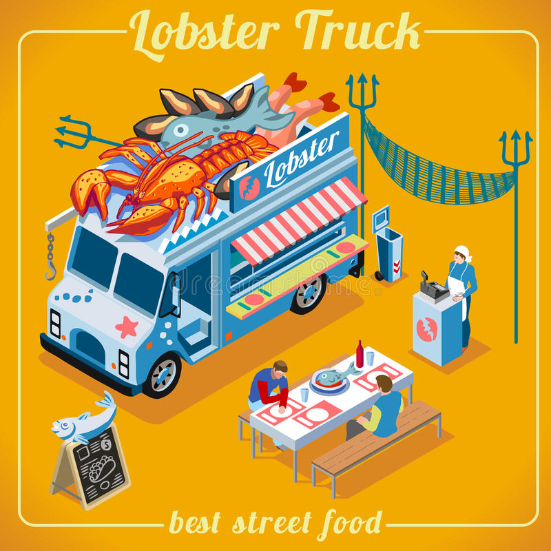 Food Truck 03 Vehicle Isometric royalty free stock photography