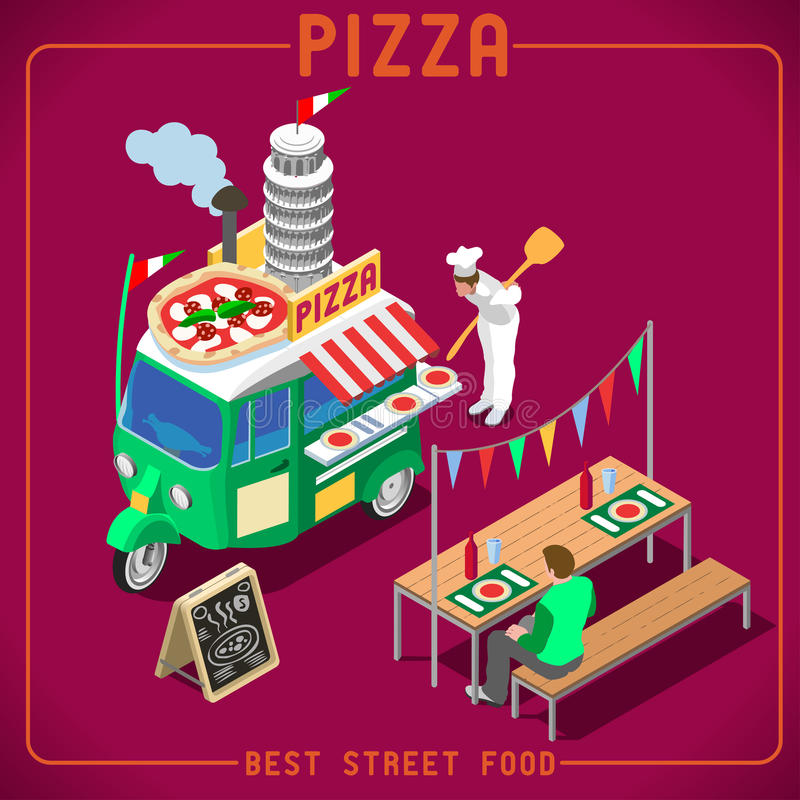 Food Truck 05 Vehicle Isometric royalty free stock photography