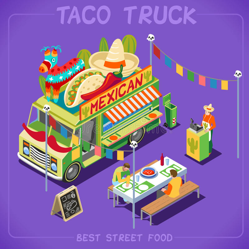 Food Truck 07 Vehicle Isometric stock photography