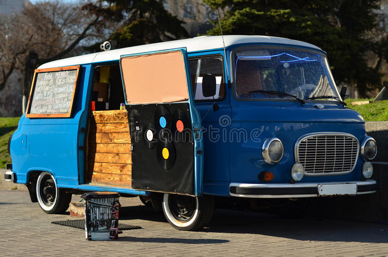 Food truck on wheels stock photography